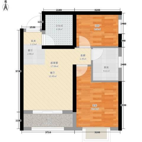 清渭公馆2室0厅1卫1厨63.00㎡户型图