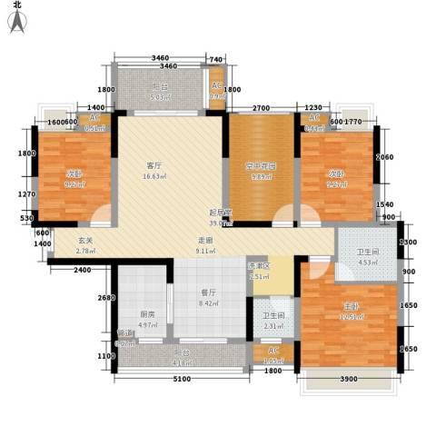 新里程潇湘名城3室0厅2卫1厨138.00㎡户型图