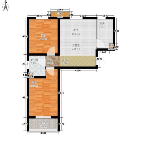 书香锦里2室0厅1卫1厨77.00㎡户型图