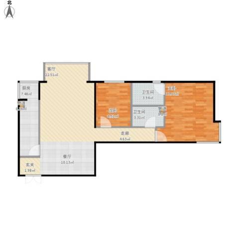 北苑家园莲葩园2室1厅2卫1厨108.00㎡户型图