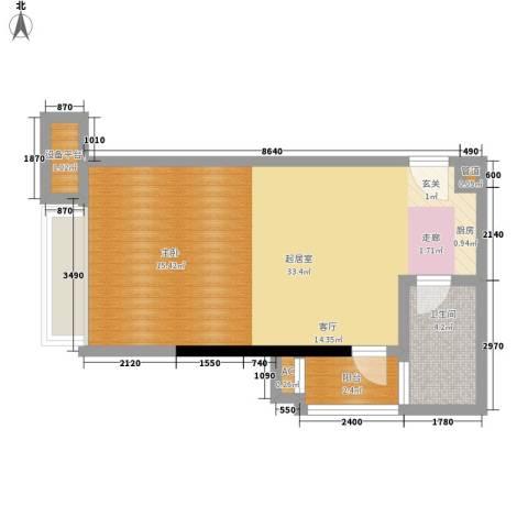 珠江新岸公寓1卫0厨44.00㎡户型图