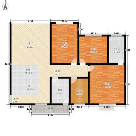 时代金贸3室1厅2卫1厨229.00㎡户型图