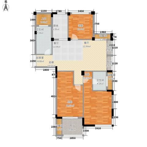 瓜渚绿洲3室0厅2卫1厨131.00㎡户型图