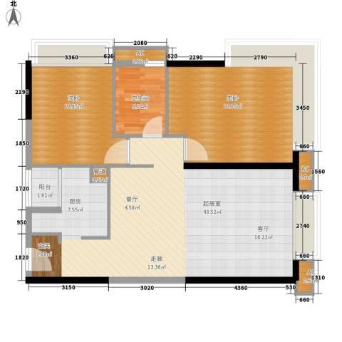 珠江新岸公寓2室0厅1卫0厨88.00㎡户型图