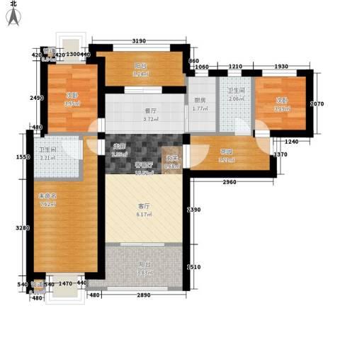 中海九号公馆2室1厅2卫1厨135.00㎡户型图