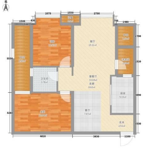 龙湖时代天街2室1厅1卫1厨79.15㎡户型图