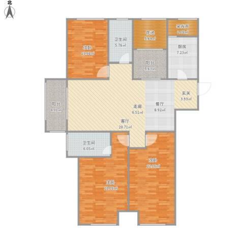 梧桐花园3室1厅2卫1厨182.00㎡户型图