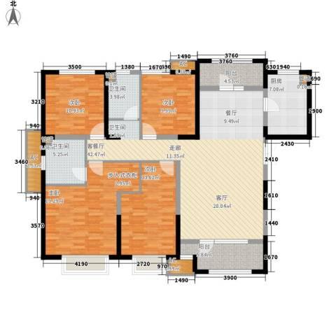 天安珑园4室1厅2卫1厨178.00㎡户型图