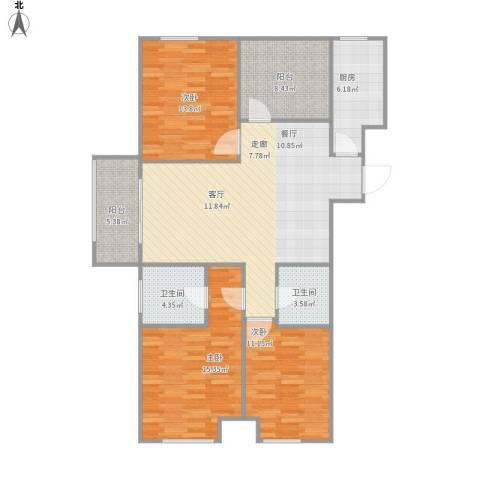 梧桐花园3室1厅2卫1厨133.00㎡户型图