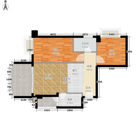 金豪嘉苑2室1厅1卫1厨79.00㎡户型图