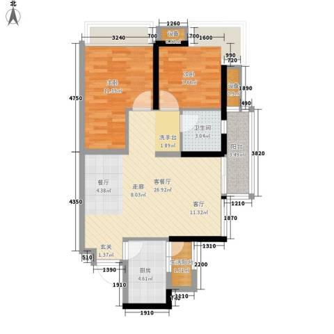 万科劲嘉金域华府2室1厅1卫1厨88.00㎡户型图