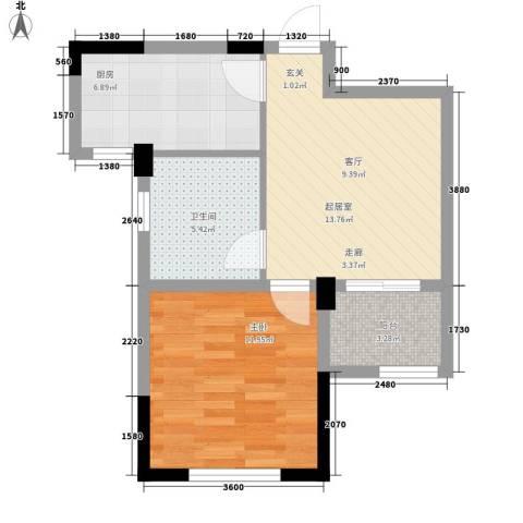 旺力・学府壹号1室0厅1卫1厨60.00㎡户型图