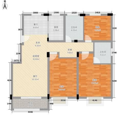 旺力・学府壹号3室0厅2卫1厨151.00㎡户型图