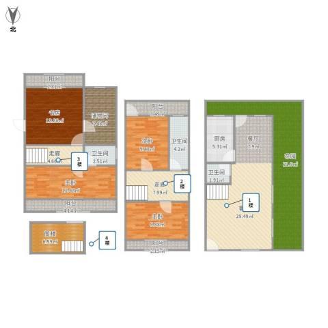 嘉年别墅4室1厅3卫1厨206.00㎡户型图