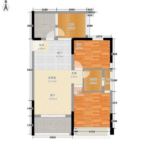 长大彩虹都2室0厅1卫1厨90.00㎡户型图