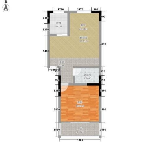 绿茵港湾1室0厅1卫1厨67.00㎡户型图