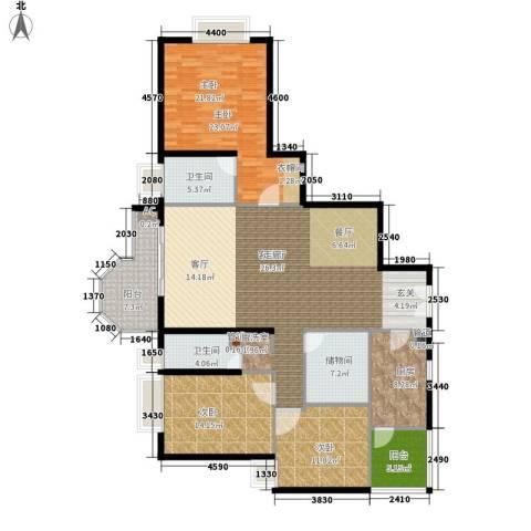 珠江广场3室1厅2卫1厨154.40㎡户型图