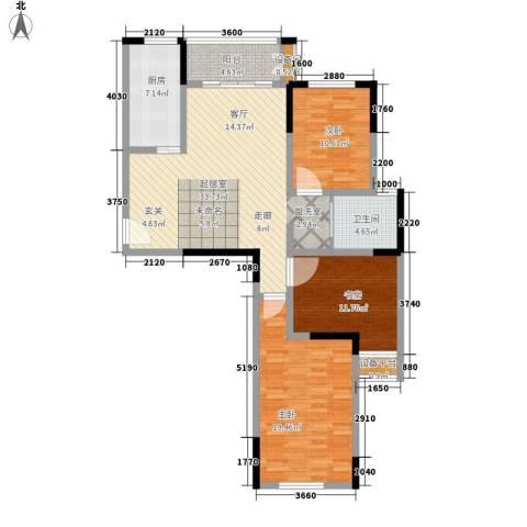 平湖观邸3室0厅1卫1厨107.00㎡户型图