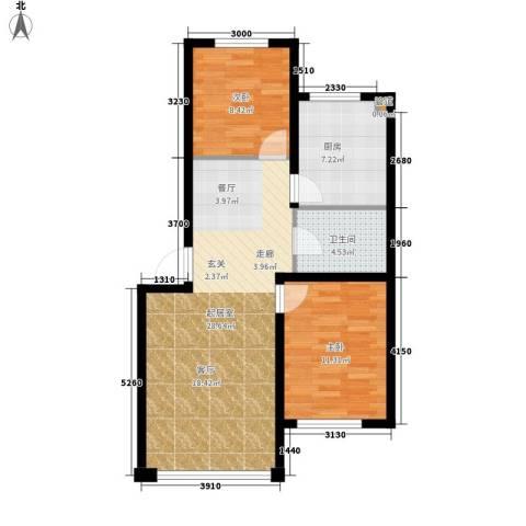 千禧名仕2室0厅1卫1厨82.00㎡户型图