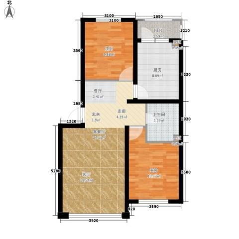 千禧名仕2室1厅1卫1厨84.00㎡户型图