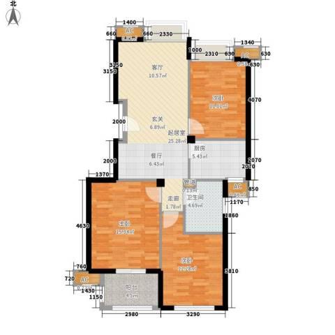 冠达・满庭芳3室0厅1卫1厨89.00㎡户型图
