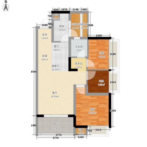 万科劲嘉金域华府3室1厅1卫1厨98.00㎡户型图
