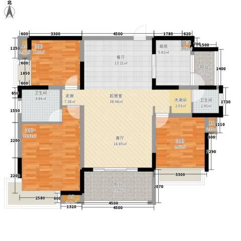 新里程潇湘名城3室0厅2卫1厨137.00㎡户型图
