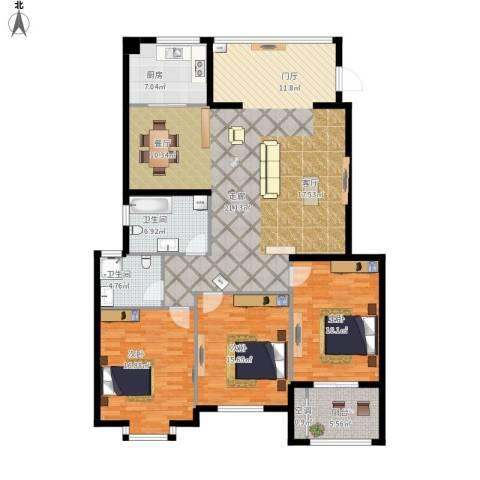 万豪臻品3室1厅2卫1厨185.00㎡户型图