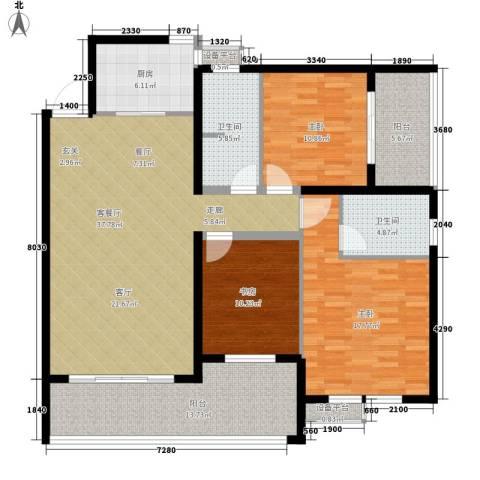 江临天下3室1厅2卫1厨144.00㎡户型图