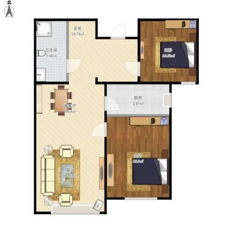 住总众邦长安生活港2室1厅1卫1厨100.00㎡户型图