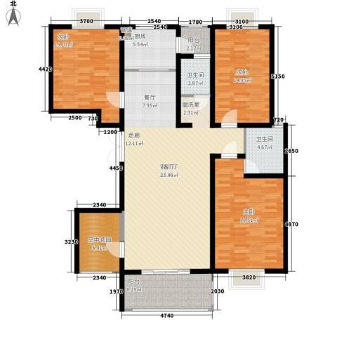 弘昌楚香苑3室1厅2卫1厨140.00㎡户型图