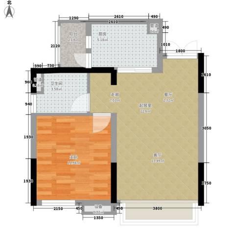 富力现代广场1室0厅1卫1厨51.00㎡户型图