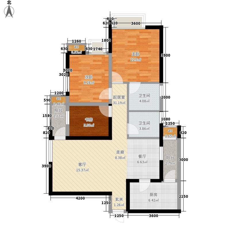 泽科港城国际85.54㎡一期9号楼标准层1/6号房户型