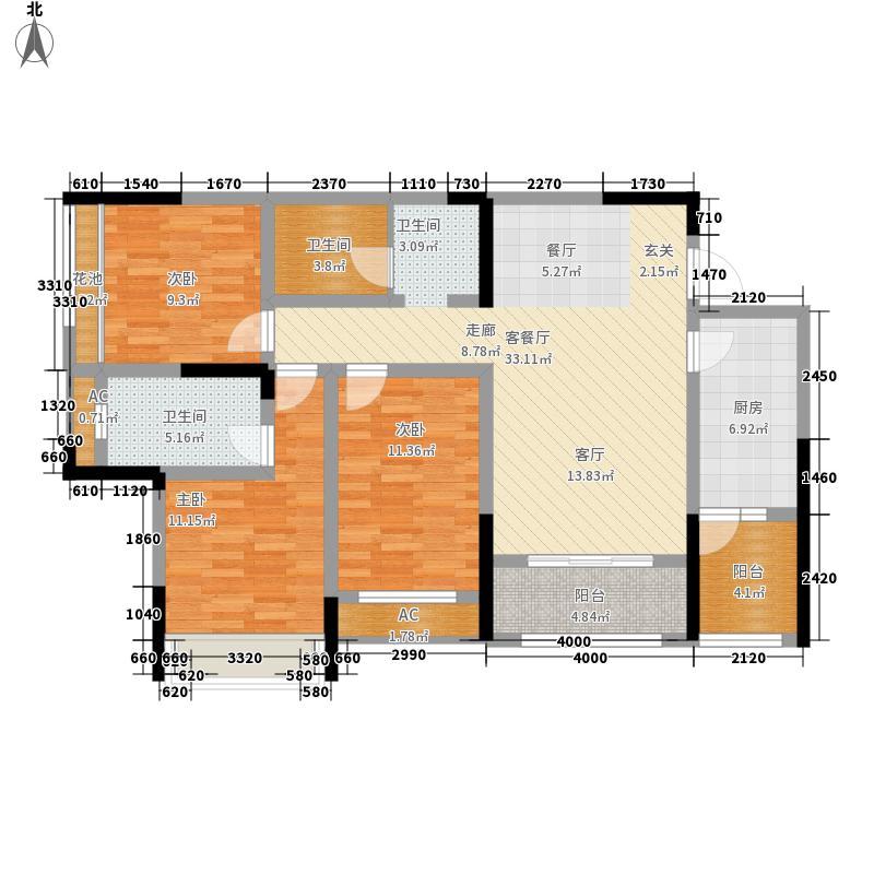 南湖左岸117.56㎡一期6号楼D1户型2室2厅