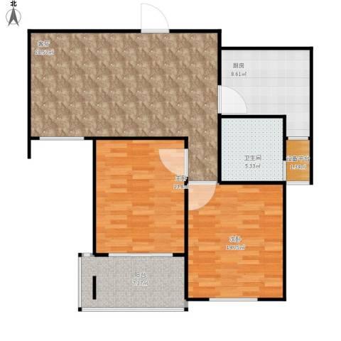 青山绿庭2室1厅1卫1厨107.00㎡户型图