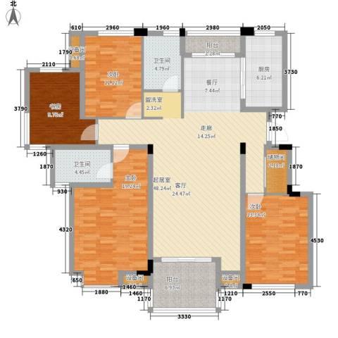 瓜渚绿洲4室0厅2卫1厨152.00㎡户型图