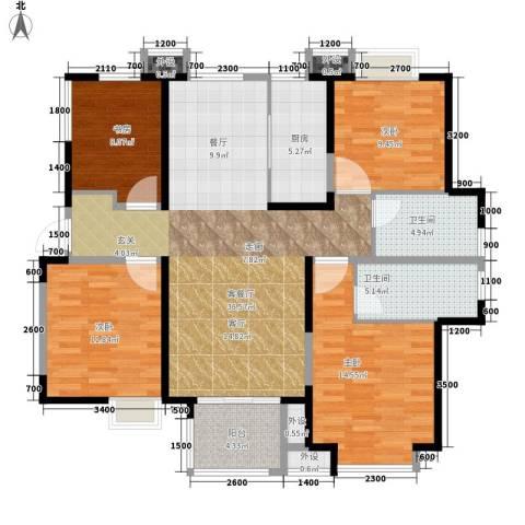 中铁滨湖名邸4室1厅2卫1厨139.00㎡户型图