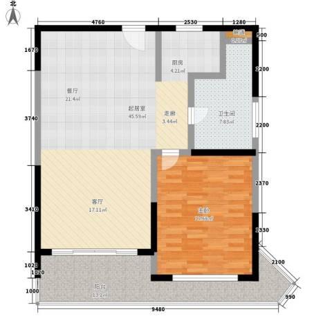 博鳌宝莲城1室0厅1卫0厨95.00㎡户型图