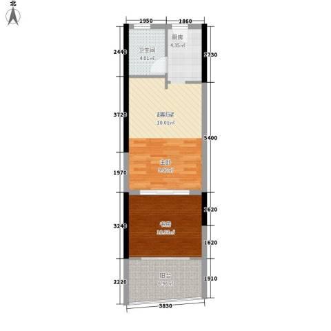 宏图高龙湾1号1室0厅1卫0厨51.00㎡户型图