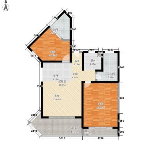 博鳌宝莲城2室0厅2卫0厨131.00㎡户型图