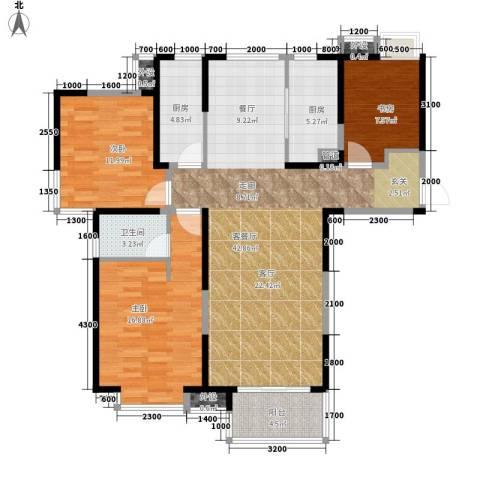 中铁滨湖名邸3室1厅1卫2厨135.00㎡户型图