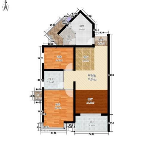 祈福新村活力花园2室1厅1卫1厨103.00㎡户型图