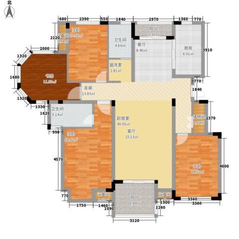 瓜渚绿洲4室0厅2卫1厨163.00㎡户型图