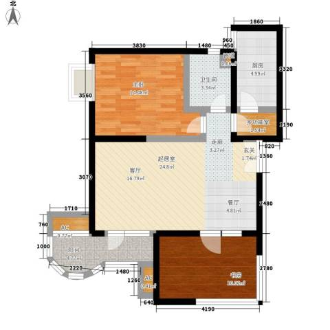城西人家2室0厅1卫1厨73.00㎡户型图