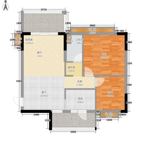 欣荣宏国际商贸城2室0厅1卫1厨96.00㎡户型图