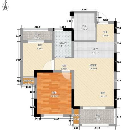 平湖观邸1室1厅1卫1厨78.00㎡户型图