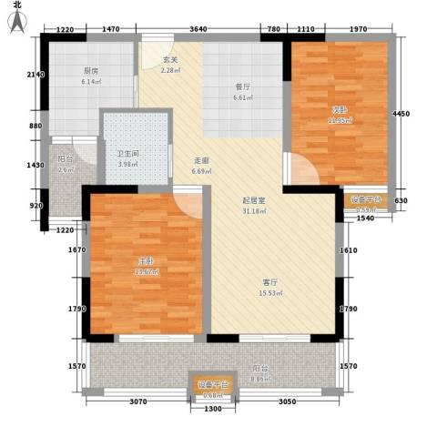 平湖观邸2室0厅1卫1厨92.00㎡户型图