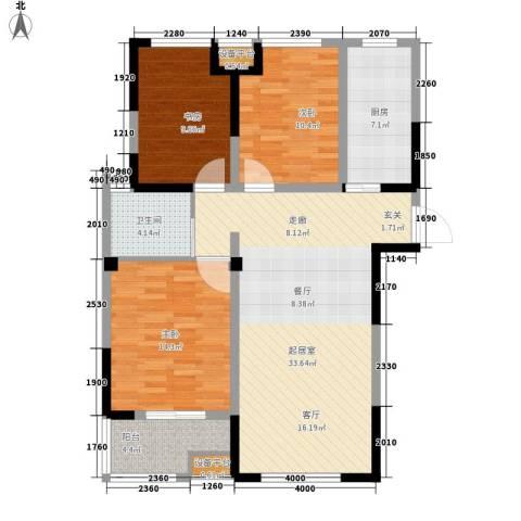 平湖观邸3室0厅1卫1厨97.00㎡户型图