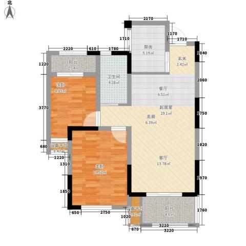 平湖观邸2室0厅1卫1厨80.00㎡户型图