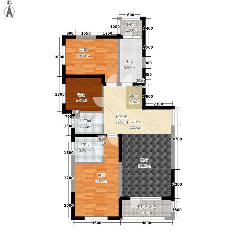 五矿弘园128.00㎡户型3室2厅